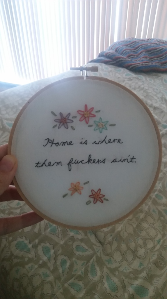 Mom's birthday gift, 2016. Also my second attempt at freehand embroidery.